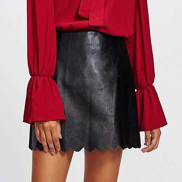 Scallop Hem Faux Leather Skirt - Shein - GOOFASH