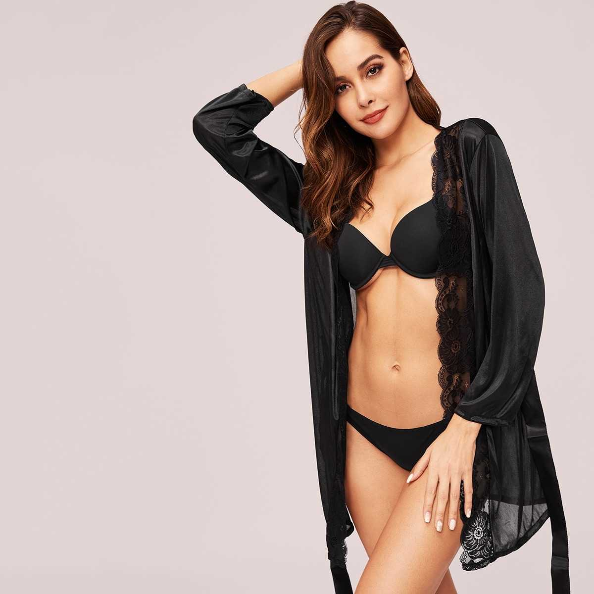 Scalloped Trim Contrast Lace Robe With Belt in Black by ROMWE on GOOFASH