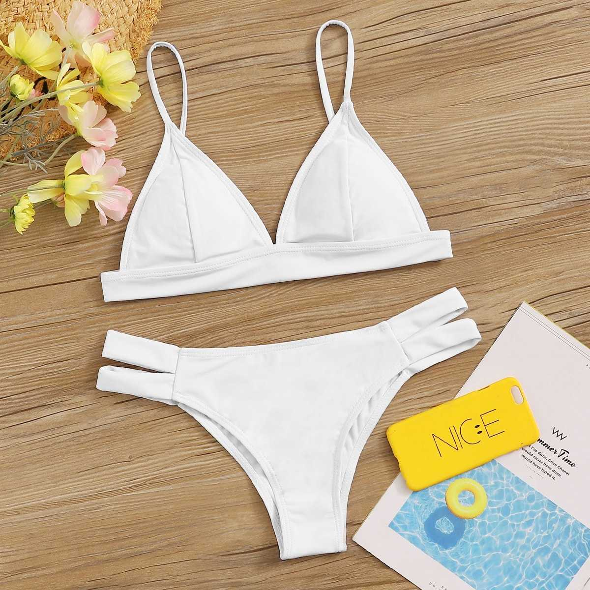 Seam Triangle Top With Cut-out Bikini Set in White by ROMWE on GOOFASH