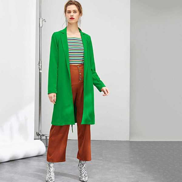 Self Belted Notched Coat - Shein - GOOFASH