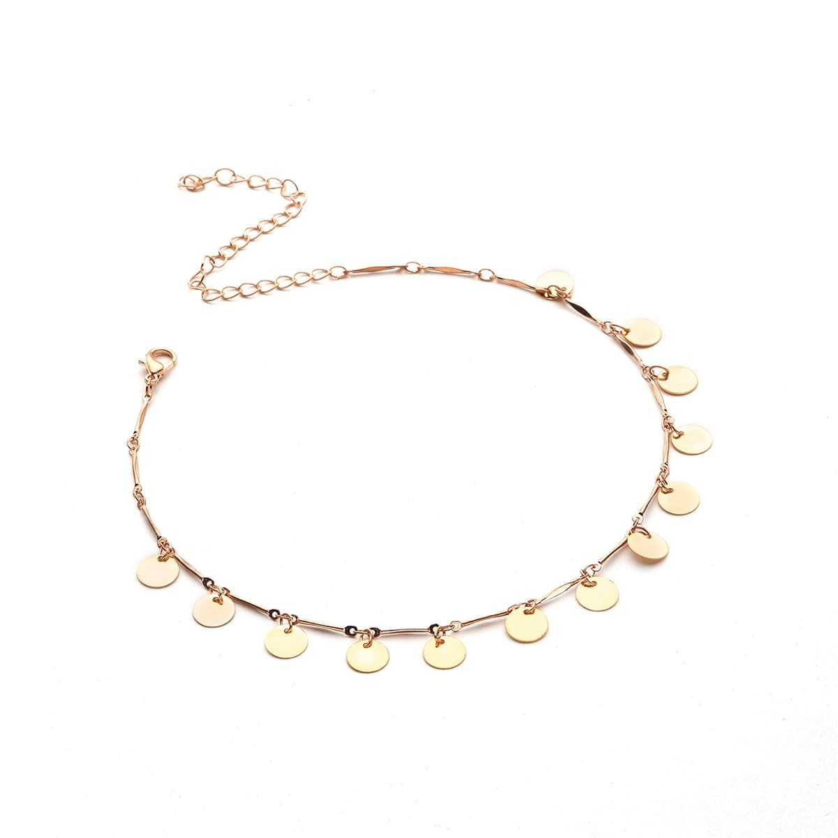 Sequin Embellished Chain Choker in Gold by ROMWE on GOOFASH