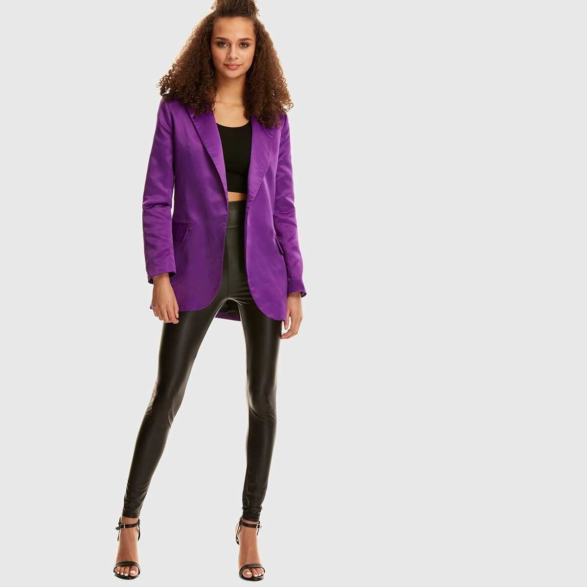Shawl Collar Pocket Side Blazer - Shein - GOOFASH