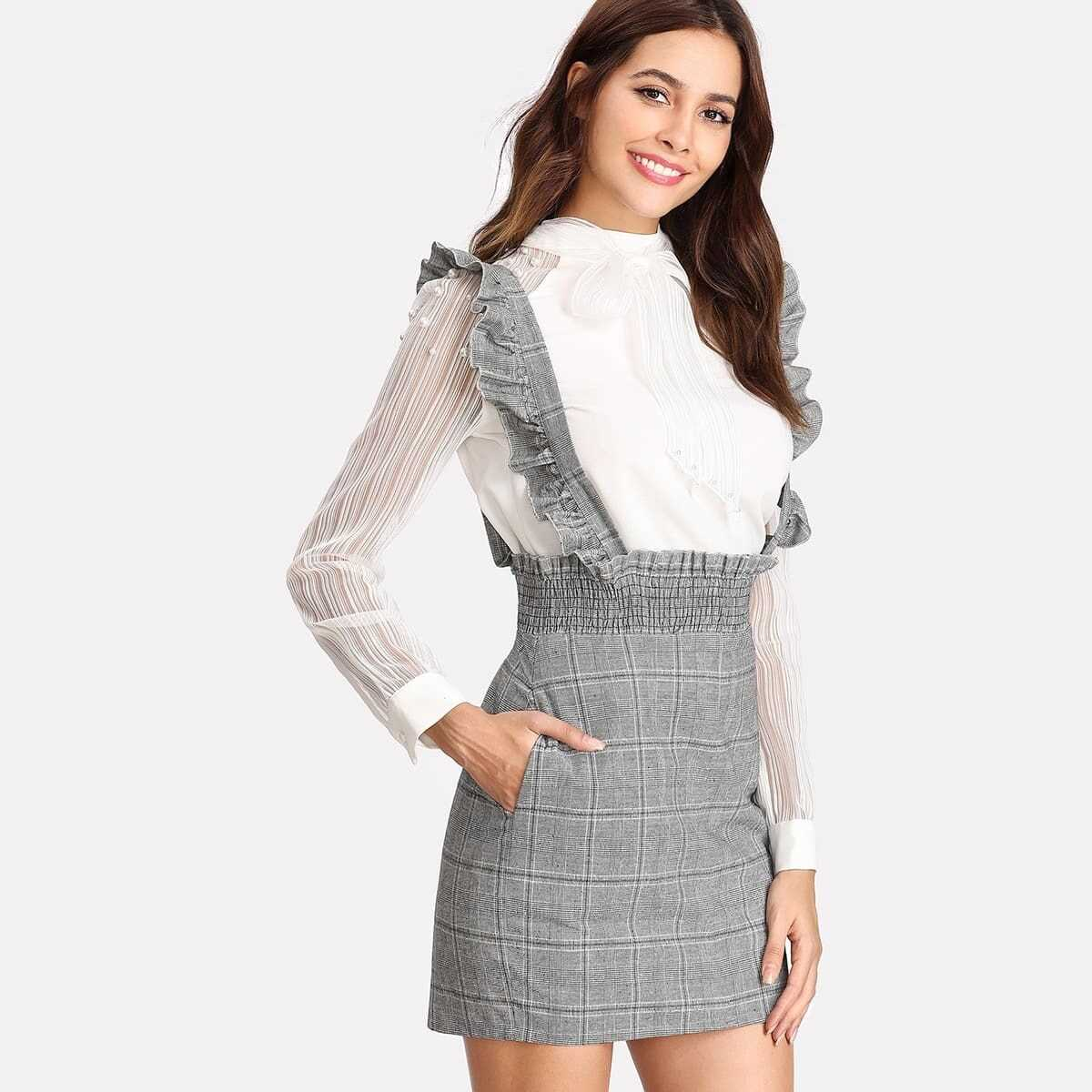 Shirred Waist Plaid Skirt With Flounce Strap in Grey by ROMWE on GOOFASH