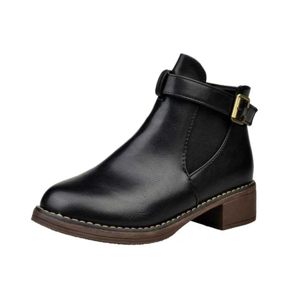 Side Buckle PU Elastic Ankle Boots - Shein - GOOFASH