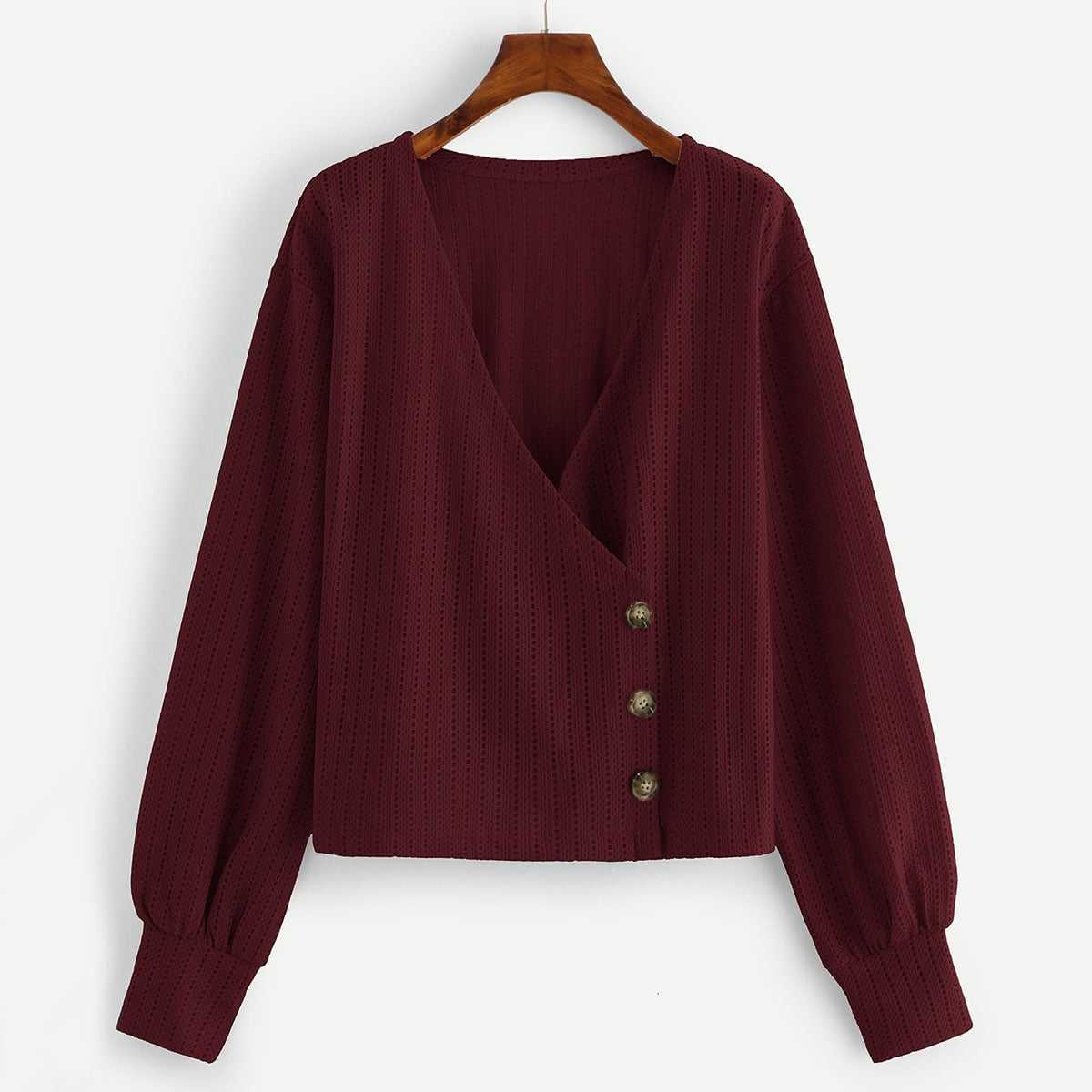 Side Button Through Surplice Blouse in Burgundy by ROMWE on GOOFASH