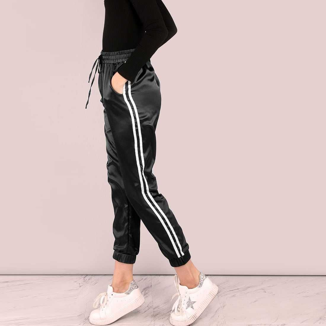 Side Striped Satin Trainer Joggers in Black by ROMWE on GOOFASH