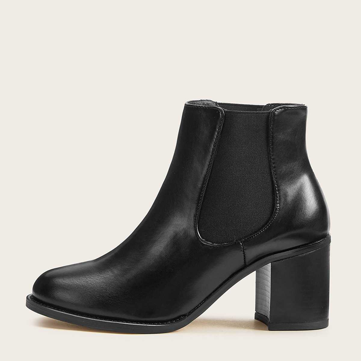 Side Zip Chunky Heeled Chelsea Boots in Black by ROMWE on GOOFASH