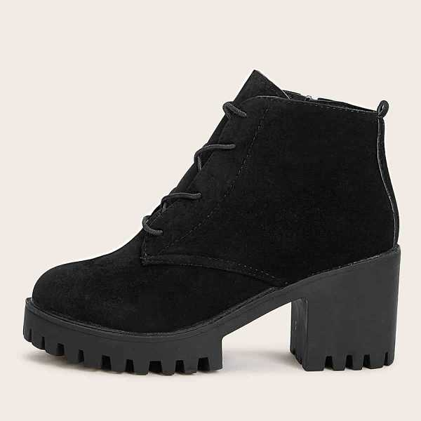 Side Zipper Lace Up Ankle Boots in Black by ROMWE on GOOFASH