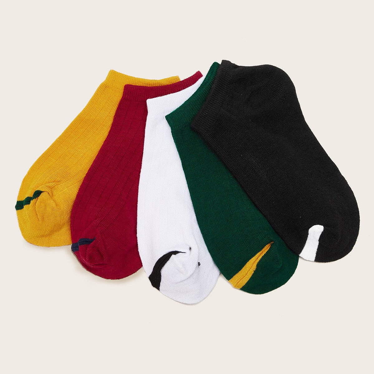 Simple Ankle Socks 5pairs in Multicolor by ROMWE on GOOFASH