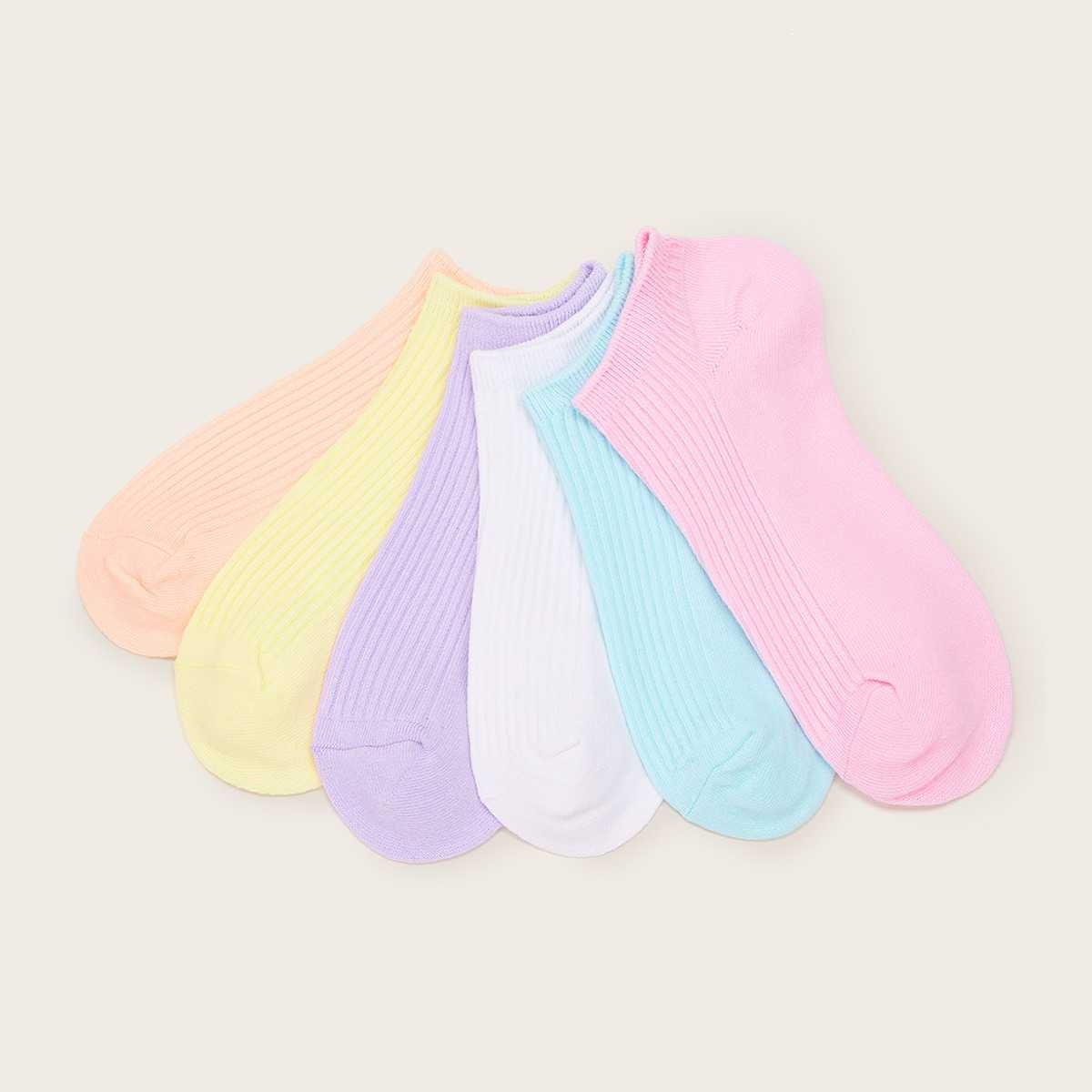 Simple Ankle Socks 6pairs in Multicolor by ROMWE on GOOFASH