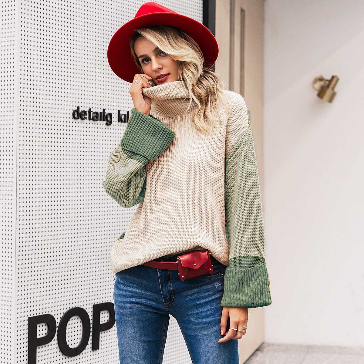 Simplee Color-block Turtle Neck Jumper in Multicolor by ROMWE on GOOFASH