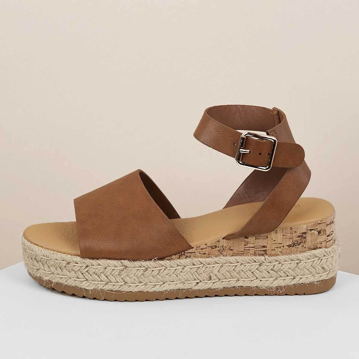 Single Band Buckled Ankle Jute Low Wedge Sandals in Tan by ROMWE on GOOFASH