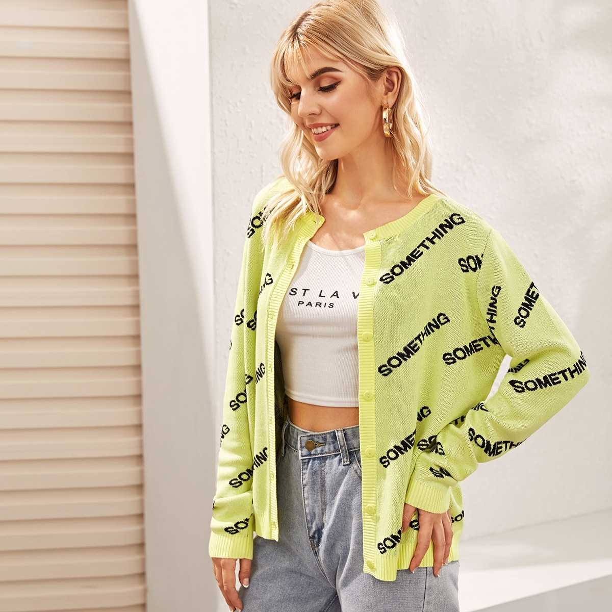 Single Breasted Letter Cardigan in Yellow Pastel by ROMWE on GOOFASH