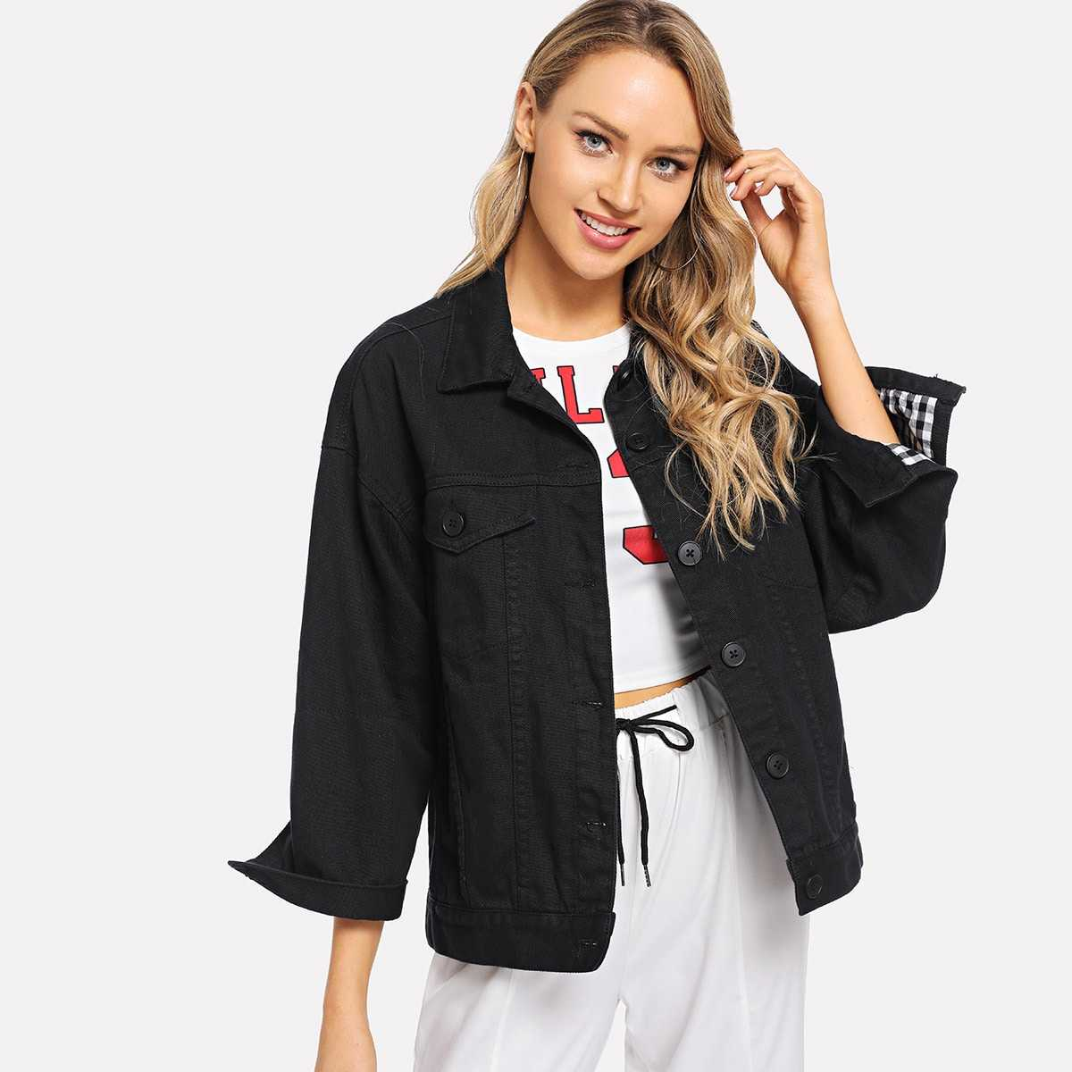 Single Breasted Solid Jacket in Black by ROMWE on GOOFASH