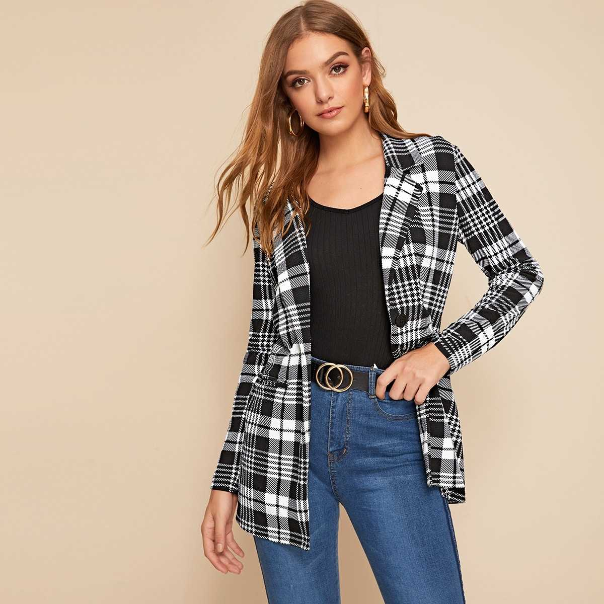 Single Buttoned Notched Collar Plaid Blazer in Black and White by ROMWE on GOOFASH