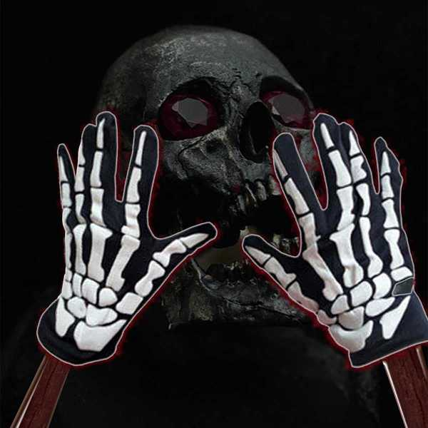 Skeleton Hand Bone Print Glove 1pair in Black and White by ROMWE on GOOFASH