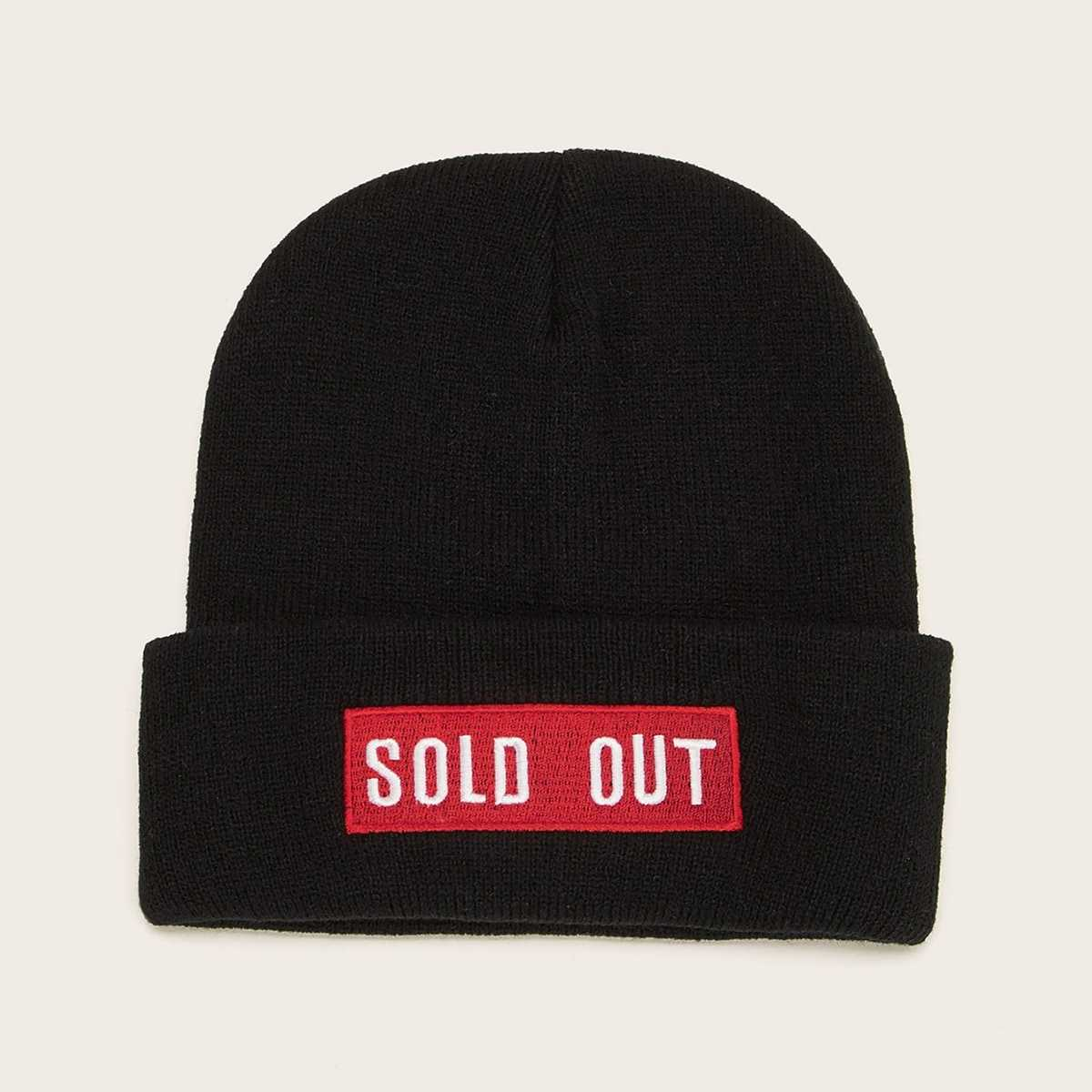 Slogan Embroidery Cuffed Beanie in Black by ROMWE on GOOFASH