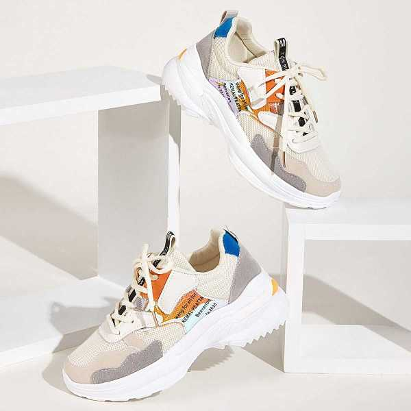 Slogan Print Chunky Sole Trainers in Multicolor by ROMWE on GOOFASH