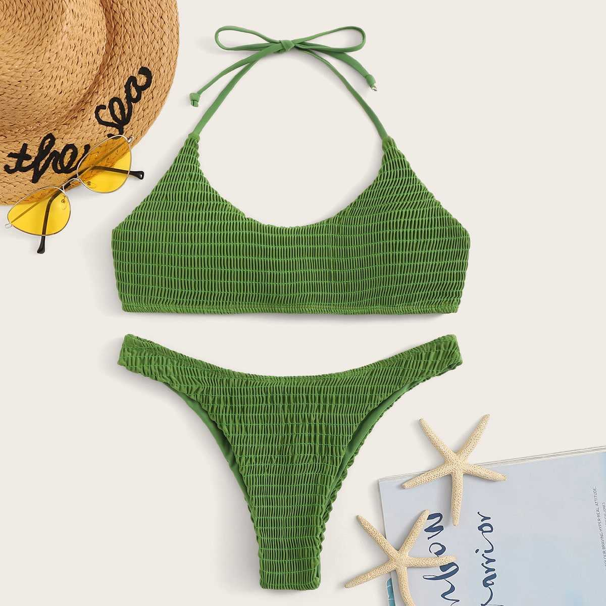 Smocked Halter Top With Hipster Bikini Set in Green by ROMWE on GOOFASH