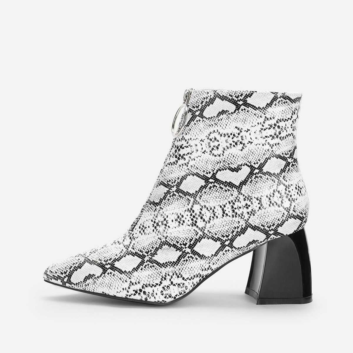 Snake Print Point Toe Ankle Boots - Shein - GOOFASH
