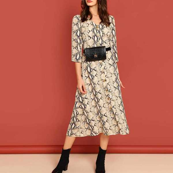Snake Skin Print Fit and Flare Dress - Shein - GOOFASH