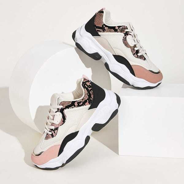 Snakeskin Panel Chunky Sole Trainers in Multicolor by ROMWE on GOOFASH