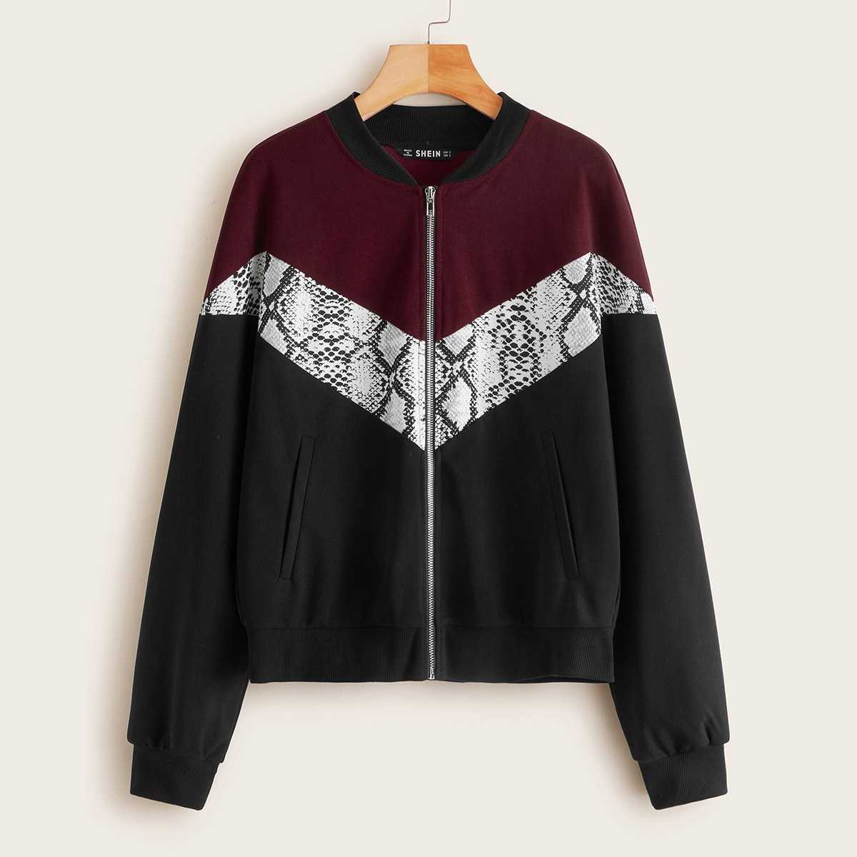 Snakeskin Print Colorblock Bomber Jacket in Multicolor by ROMWE on GOOFASH