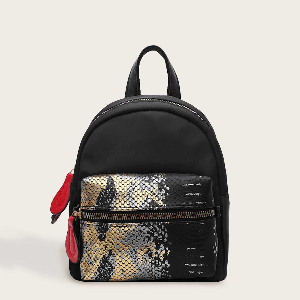 Snakeskin Print Pocket Front Backpack in Multicolor by ROMWE on GOOFASH