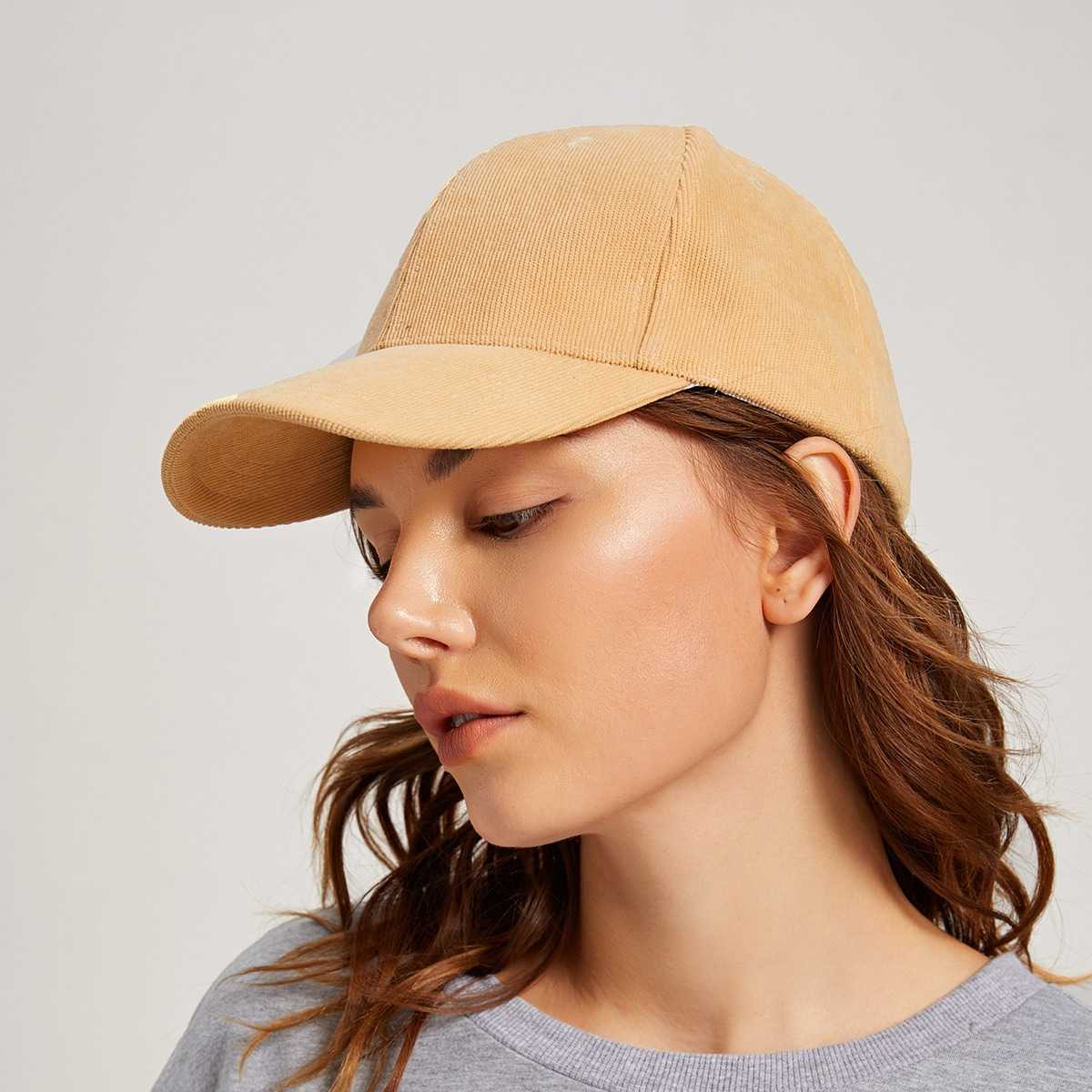 Solid Baseball Cap in Yellow by ROMWE on GOOFASH