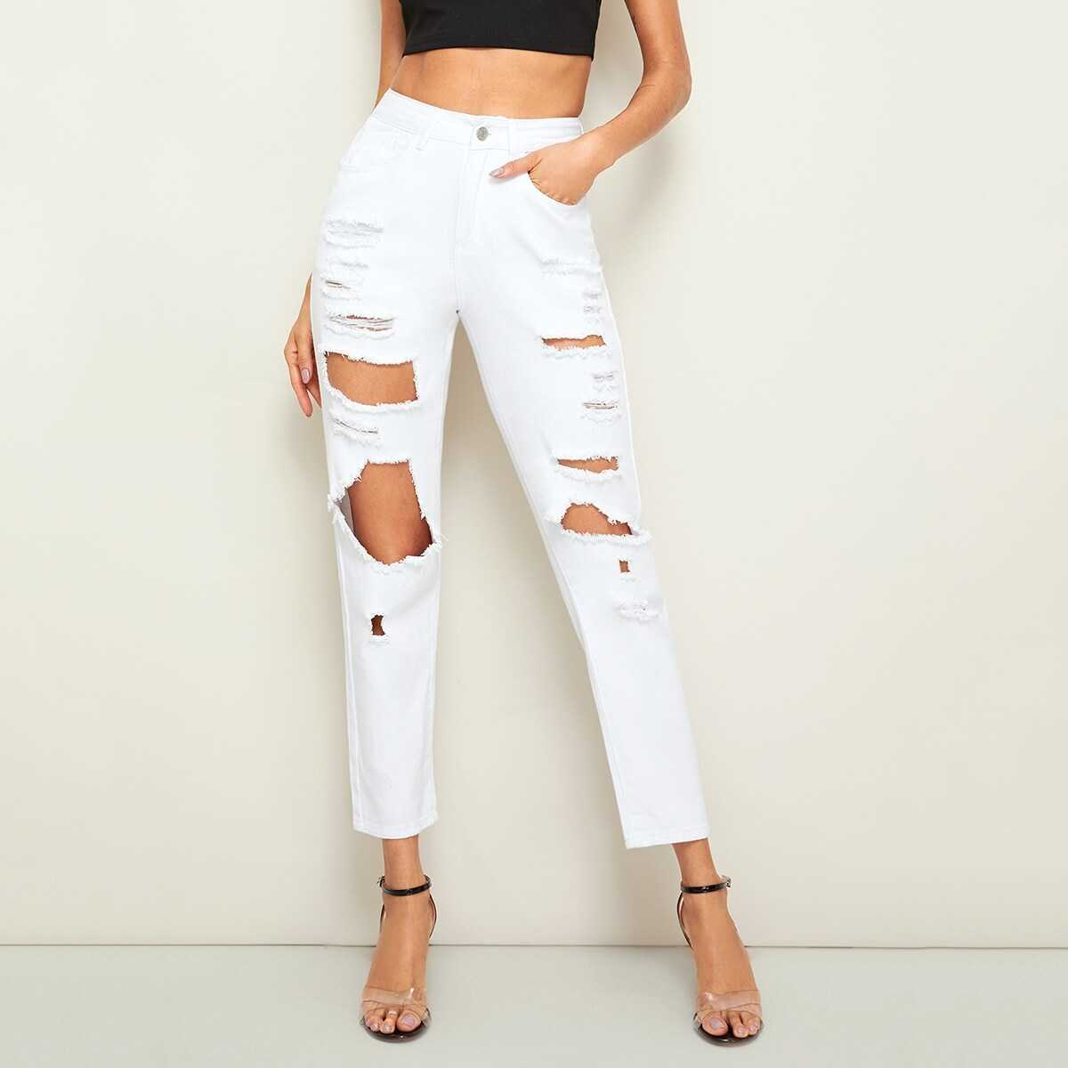 Solid Big Ripped Crop Jeans - Shein - GOOFASH