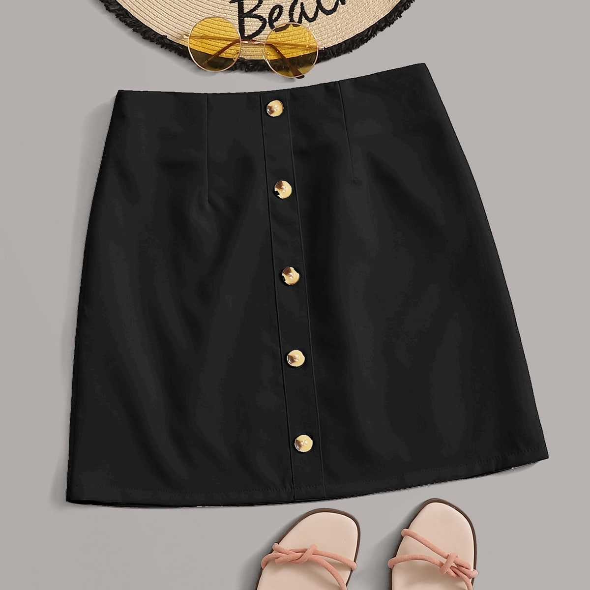 Solid Button Front A-line Skirt in Black by ROMWE on GOOFASH