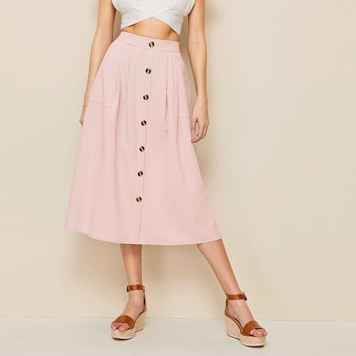 Solid Button Front Dual Pocket Skirt in Pink by ROMWE on GOOFASH