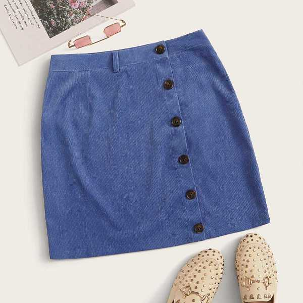 Solid Button Front Straight Corduroy Skirt in Blue by ROMWE on GOOFASH