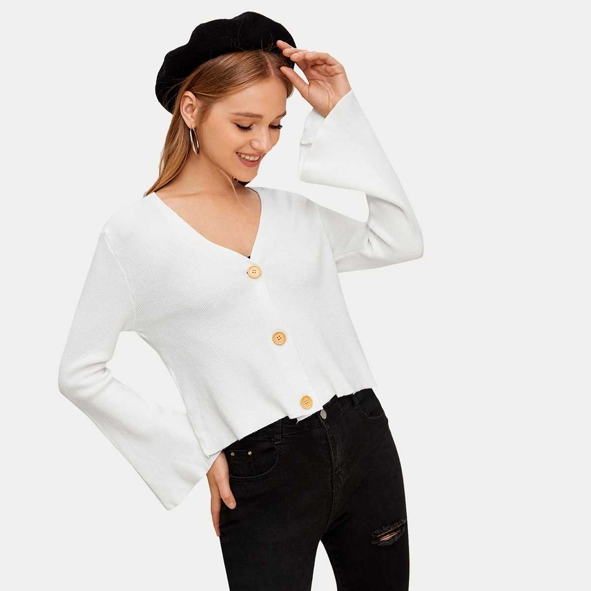 Solid Button Through Bell Sleeve Cardigan in White by ROMWE on GOOFASH
