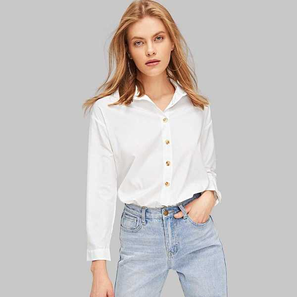 Solid Button Up Curved Hem Shirt - Shein - GOOFASH