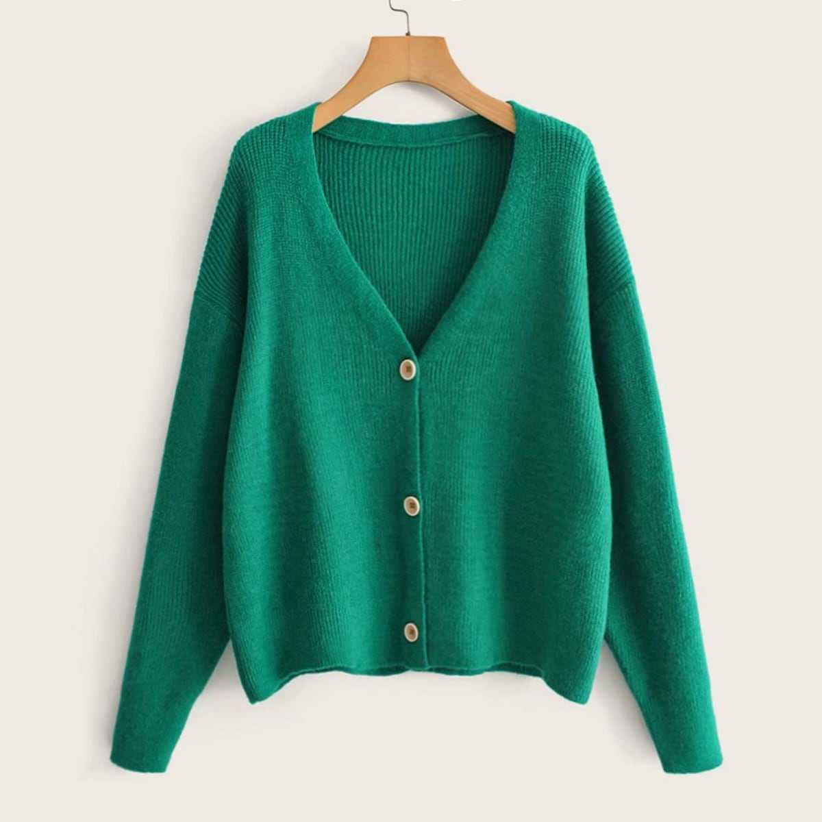 Solid Drop Shoulder Single Breasted Cardigan in Green by ROMWE on GOOFASH