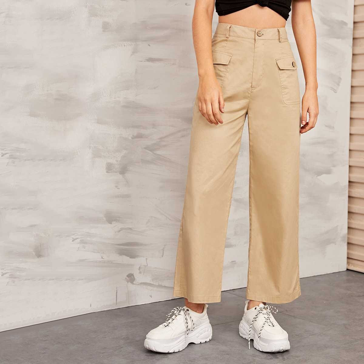 Solid Flap Pocket Front Wide Leg Cargo Pants in Khaki by ROMWE on GOOFASH
