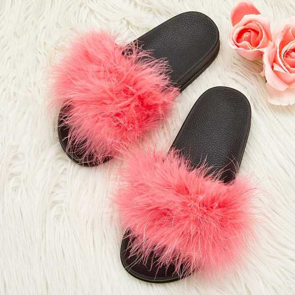 Solid Fluffy Flats Slippers - Shein - GOOFASH