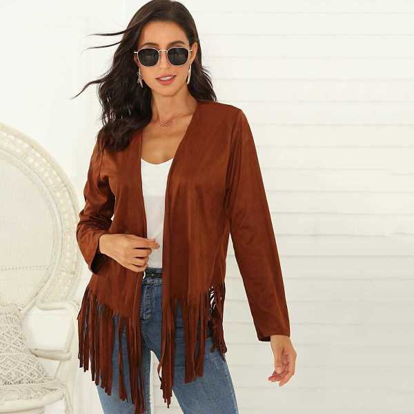 Solid Fringe Hem Open Front Suede Coat in Brown by ROMWE on GOOFASH
