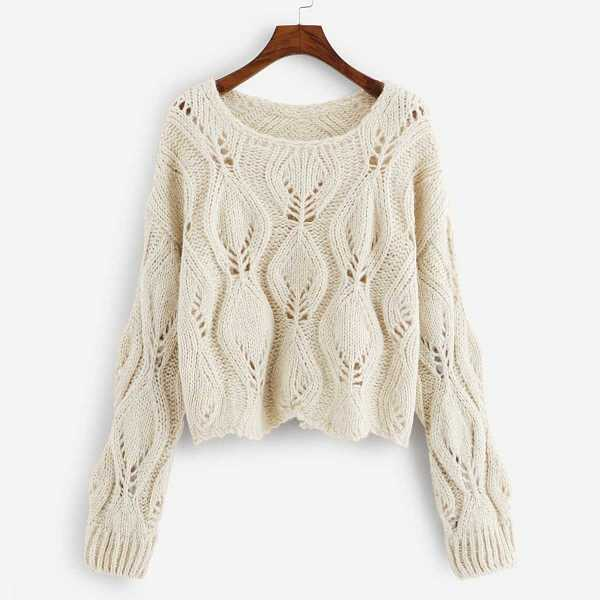 Solid Hollow Out Sweater in Beige by ROMWE on GOOFASH