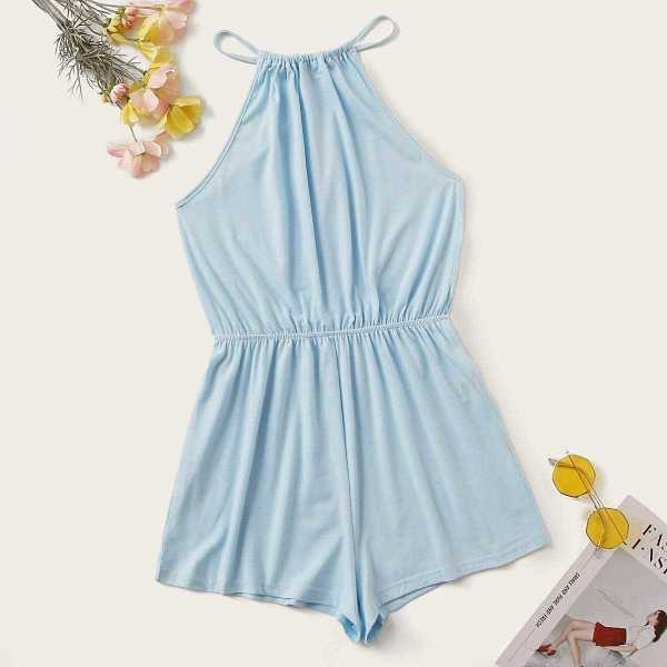 Solid Keyhole Back Halter Romper in Blue Pastel by ROMWE on GOOFASH