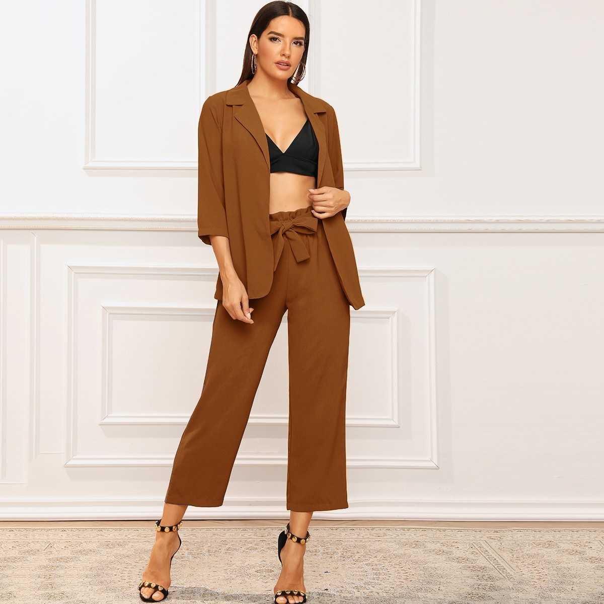 Solid Lapel Collar Blazer & Belted Pants in Brown by ROMWE on GOOFASH