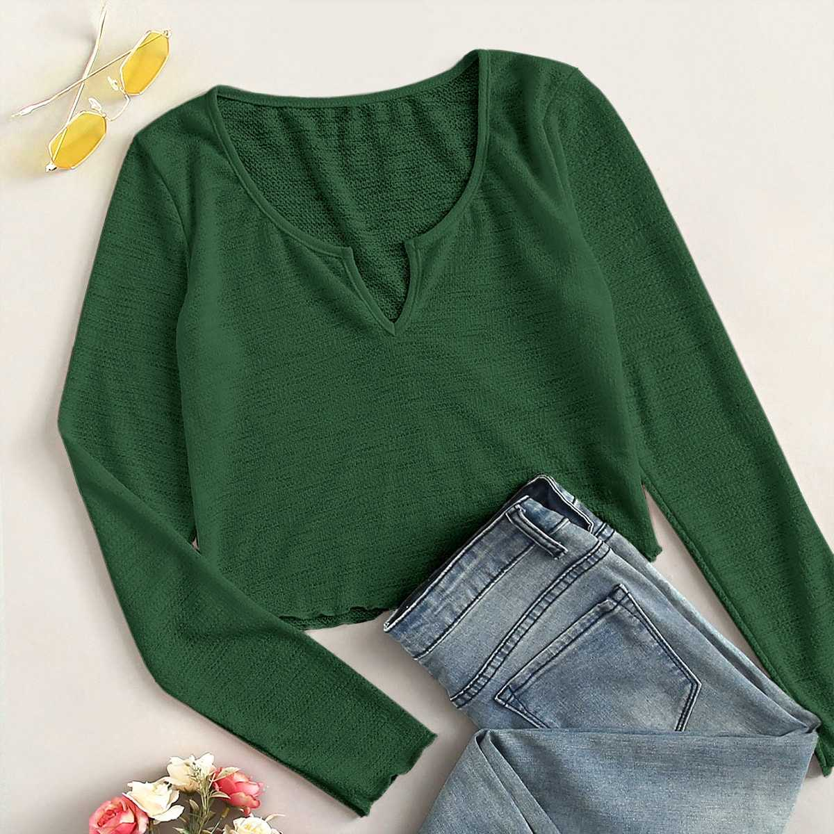 Solid Notch Neck Crop Tee in Green by ROMWE on GOOFASH
