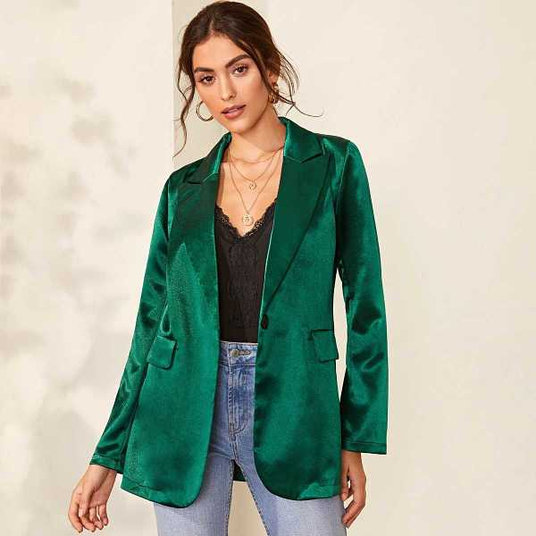 Solid Notched Collar Satin Blazer in Green by ROMWE on GOOFASH