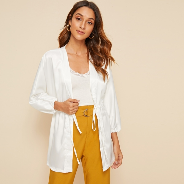 Solid Open Front Drawstring Coat in White by ROMWE on GOOFASH