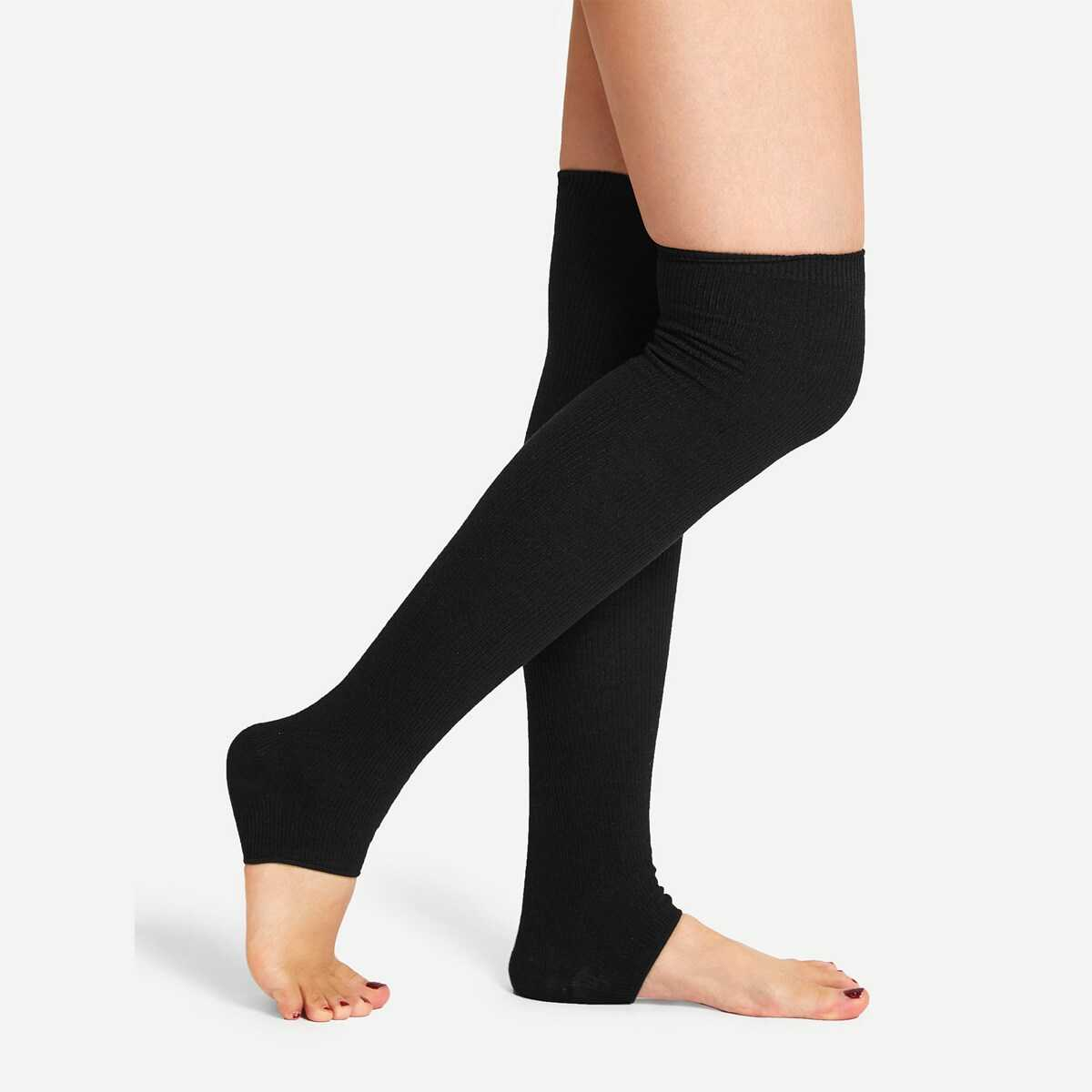 Solid Over The Knee Open Toe Socks - Shein - GOOFASH