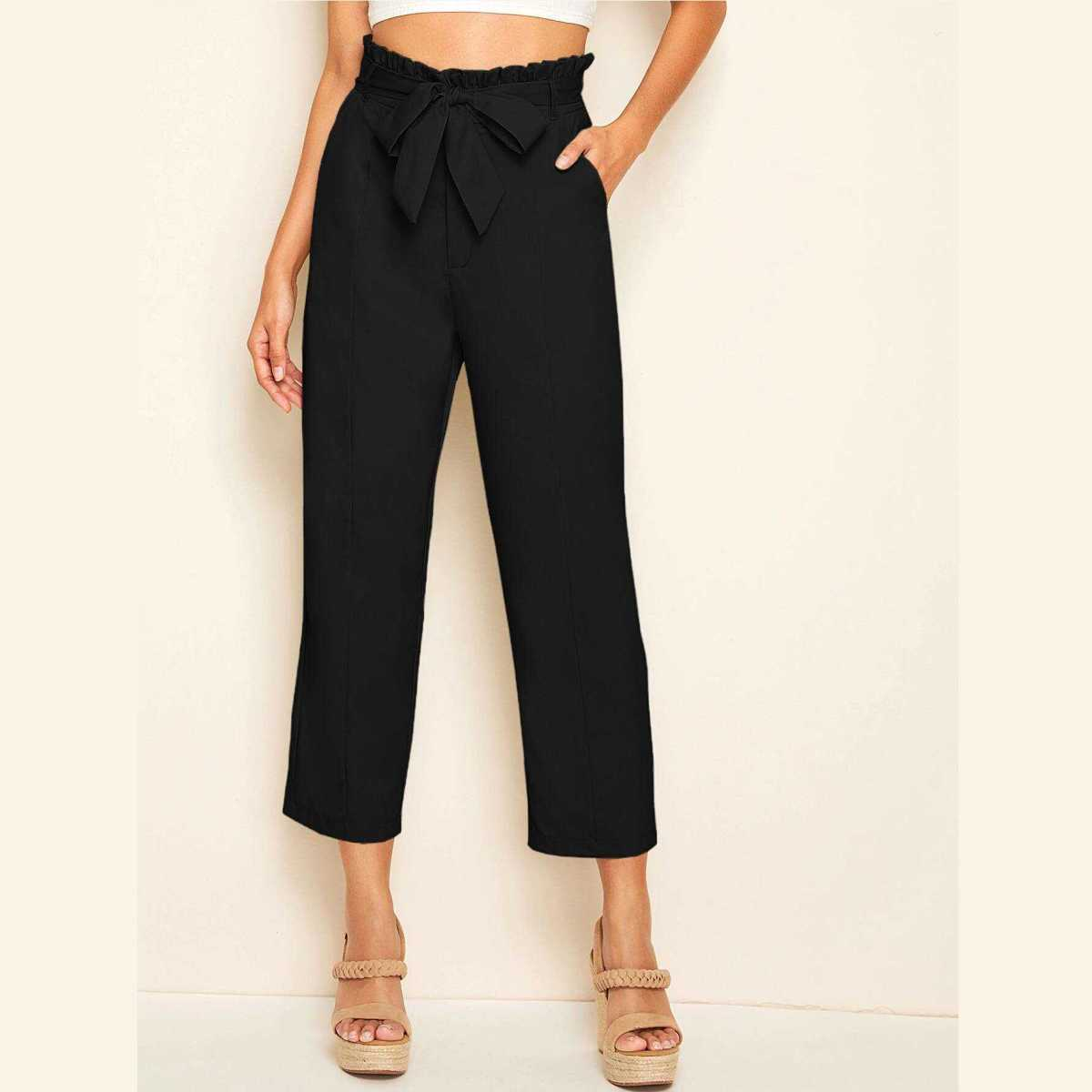 Solid Paperbag Waist Belted Straight Pants in Black by ROMWE on GOOFASH