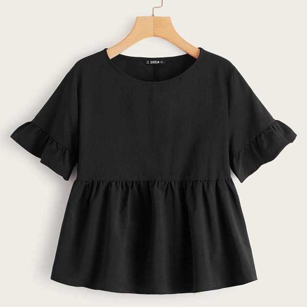 Solid Ruffle Trim Smock Top in Black by ROMWE on GOOFASH