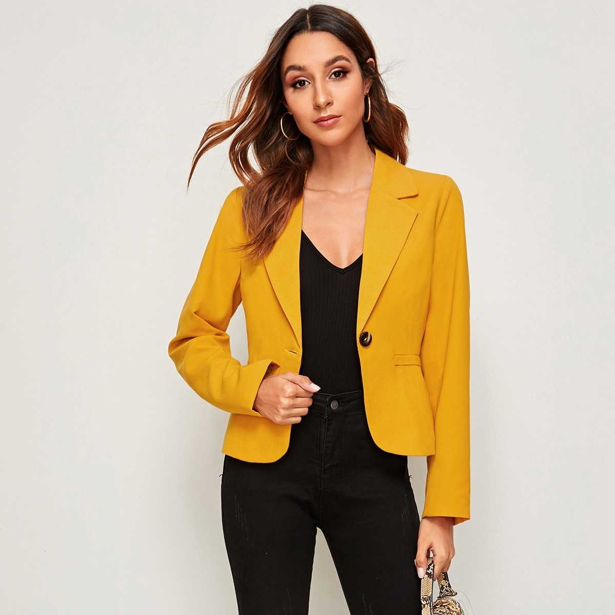 Solid Single Button Blazer in Yellow Bright by ROMWE on GOOFASH