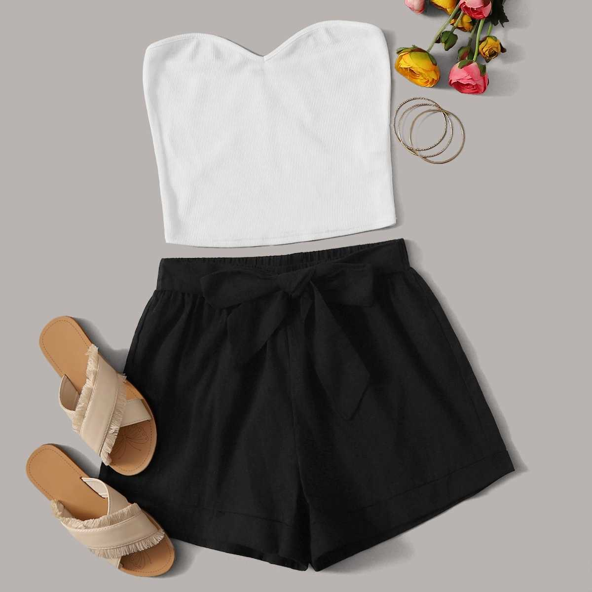 Solid Tube Top & Belted Shorts Set in Black and White by ROMWE on GOOFASH